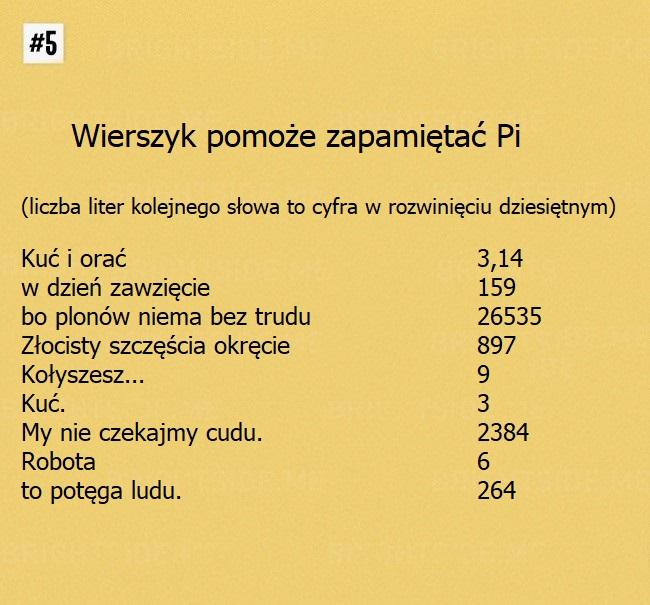 Matematyczne triki - Zapamiętanie Pi