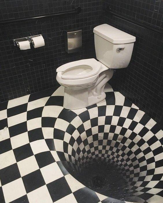 toaleta z czarną dziurą