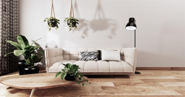 kanapa z lampą stojącą