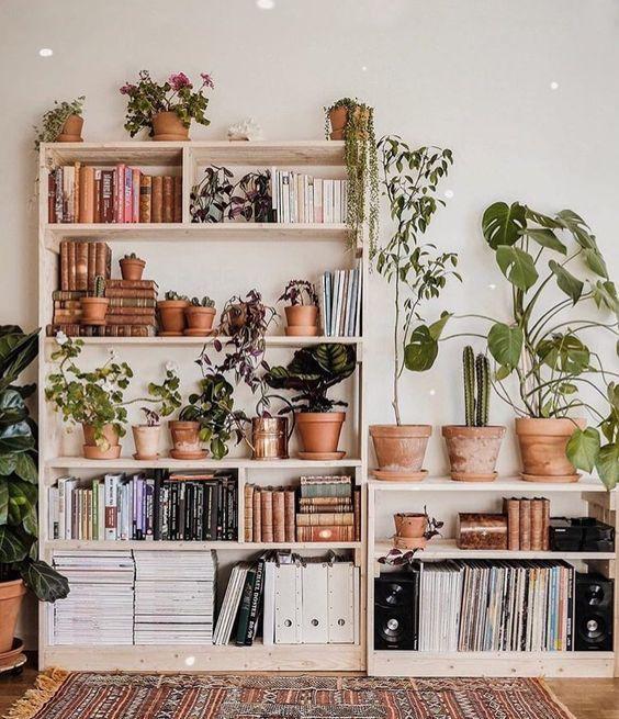 biblioteczka z kwiatami