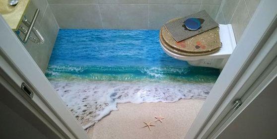 Nietuzinkowe podłogi 3D do łazienki!  Każdy może mieć swoją prywatną plażę