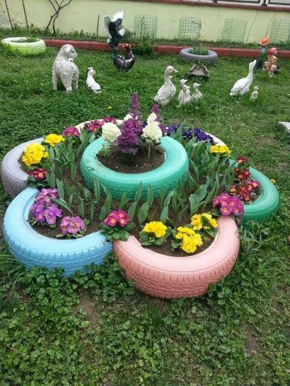 opony w ogrodzie