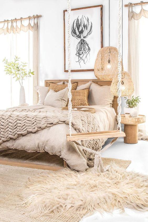 łóżko i huśtawka